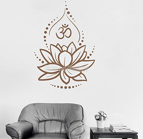 Kreative lotus vinyl wandtattoos vinyl wandaufkleber yoga meditieren aufkleber wandbilder abnehmbare art room decor blume 42x60 cm -