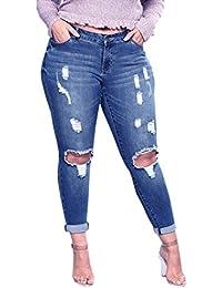 CICIYONER Pantalones de Mujer Pantalones Talla Grande Pantalones Vaqueros  Pitillo Slim de Rasgado elástico 69b7f7b1b05