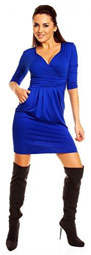 Zeta Ville - Robe poches manches 3/4 décolleté en V Taille 38-48 - Femme - 236z Bleu Royal