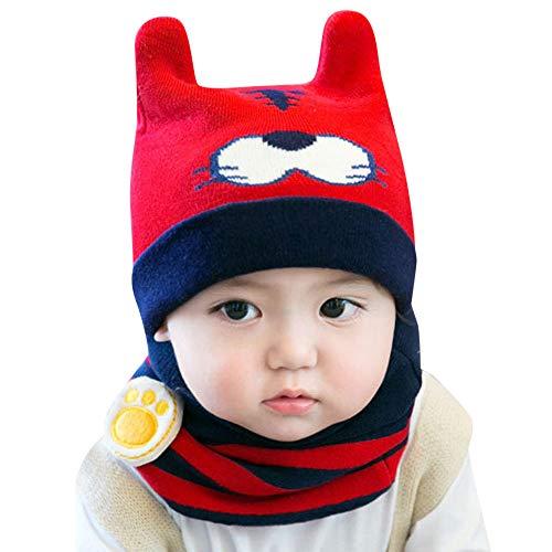 uBabamama_Hat Strickmütze für den Winter, warm, Cartoon-Design, gestrickt, mit niedlichem Lätzchen, für 0-12 Monate alte Babys, g, Einheitsgröße