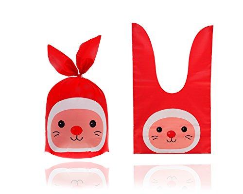 50 x Hase Bunny Süßigkeit Partytüte, Tüten Taschen, Beutel Plätzchen Candy-Bar Beutel, Gebäck Tütchen Bonbons Geschenk Verpackung für Kindergeburtstag, Halloween (Rot, 13x22)
