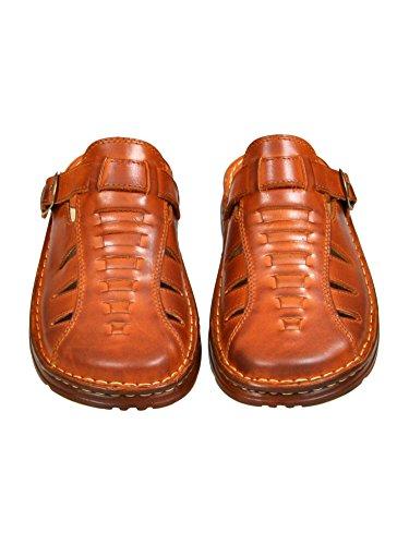 Sandales De Type Mule Pour Homme En Cuir Reel De Bison De Forme Orthopedique Chaussures Confortables Modele 801/2 Cognac