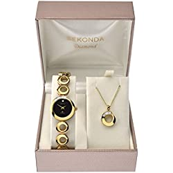 Sekonda Women's Quartz Watch with Black Dial Analogue Display and Gold Alloy Bracelet 4011G.49