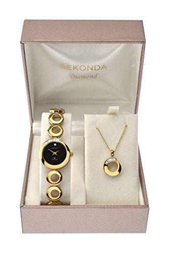 Sekonda-Womens-Quartz-Watch-with-Black-Dial-Analogue-Display-and-Gold-Alloy-Bracelet-4011G49