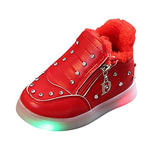 HDUFGJ LED Schuhe Kinder Strass Beleuchtete Freizeitschuhe Kinder Schuhe Nette Baby Mädchen Stiefel Plus Samt Leichtgewicht Laufschuhe Faule Schuhe Turnschuhe Fitnessschuhe 26.5 EU(rot)