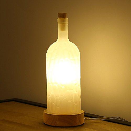 Pointhx Moderna Botella de Vidrio Simple Lámpara de Mesa Base de ...