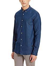 blackberrys Mens Casual Shirt (8907196395137_US-IDG060-UC2-F2_44_Indigo)