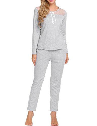 et Damen Jersey Baumwolle Nachtwäsche warm Sleepwear leicht Atmungsaktiv Hemd mit Hosen ()