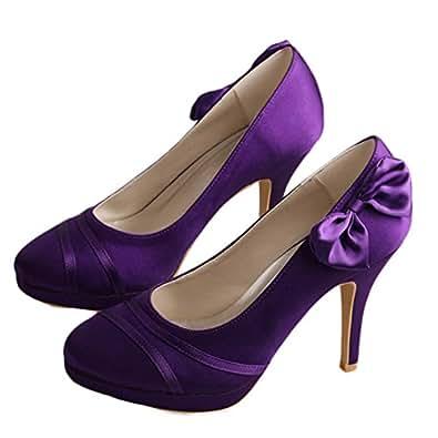 La Mode Chaussures de mariée chaussures de soirée talons hauts chaussures femmes Office Lady - violet