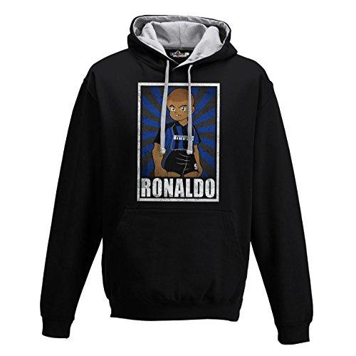 Sweatshirt Kapuze Bico Fußball Vintage Ronaldo Inter Legend Parodie Holly E BENJI G, Jet Black (Inter-fußball)