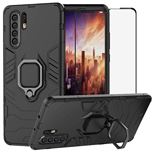 Wubaouk for Huawei P30 Pro Case & Tempered Glass Screen Protector, Hybrid Armor Defender Dual Laye Anti-Scratch Kickstand Shockproof Cover & Magnetic Car Mount Ring Grip Cellular Glass Mount