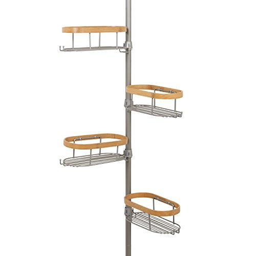 Tension Pole Caddy (Zenna Home 2128bm Tension Ecke Pole Caddy, Nickel und Bambus)