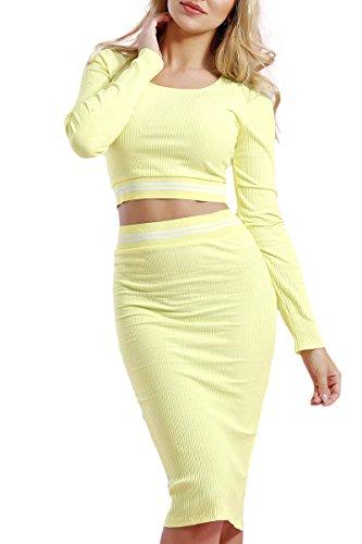 INFINIE PASSION - Maille côtelée - Ensemble top et jupe jaune Jaune