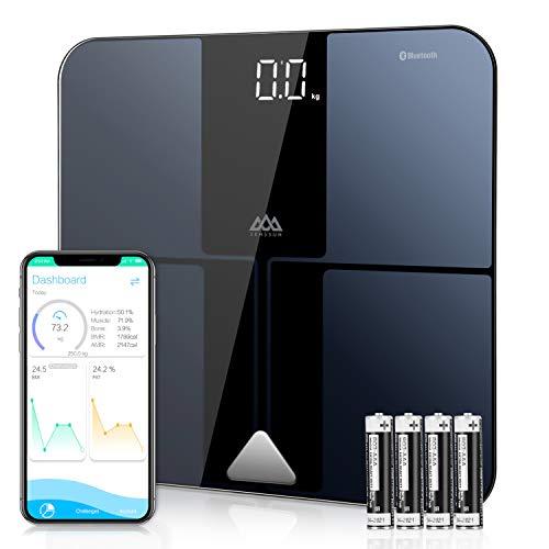 SENSSUN Körperfettwaage, ITO Smart Bluetooth Personenwaage mit APP, digitale Waage für Körperfett, BMI, Gewicht, Muskelmasse, Wasser,Knochengewicht, BMR, usw 180kg- Schwarz