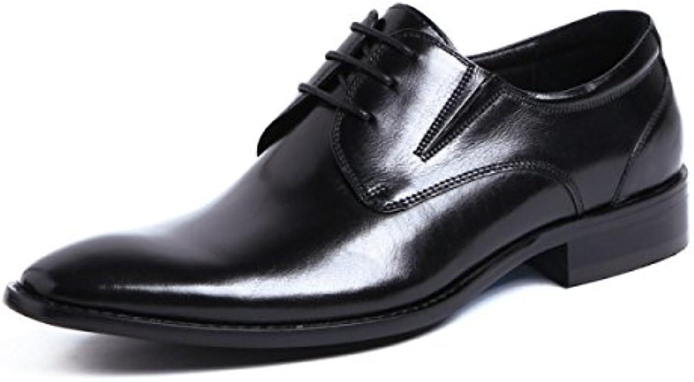 LYZGF Hombres Caballeros Negocios Ocio Moda Desgaste Resistente Zapatos De Cuero De Encaje Puntiagudos,Black-39 -