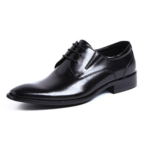 GRRONG Chaussures En Cuir Pour Homme En Cuir Dentelle Fantaisie Avec L'usure Des Affaires Pointue Black