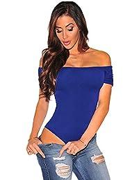 Body Femme Femmes De L épaule À Manches Courtes Bodycon Stretchy Justaucorps  Body Combinaisons Tops Basic Solid Nightwear Vêtements… 93319cff00f