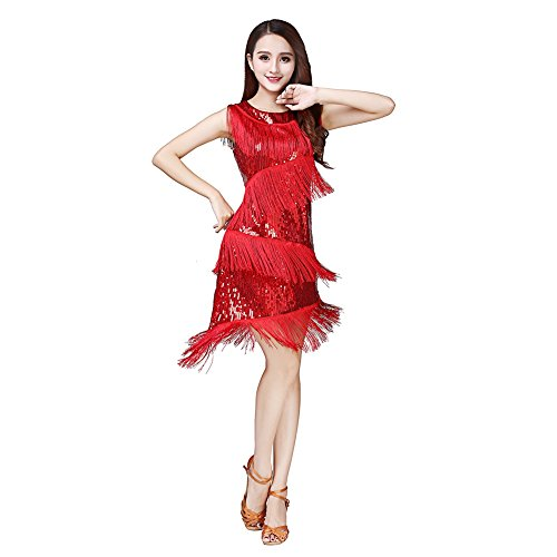Reefa Pailletten Latin Dance Dress für Damen,