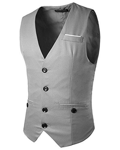 JOLIME Herren Anzug Weste Slim Bügelleicht 4 Knopf Smoking FüR Hochzeit Fest Business Casual Grau XL (Ein-knopf Smoking Klassischer)