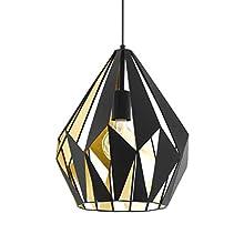 EGLO Pendellampe Carlton 1, 1 flammige Vintage Pendelleuchte, Retro Hängelampe aus Stahl, Farbe: Schwarz, gold, Fassung: E27, Ø 31 cm