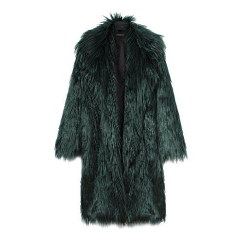 Yuandian donna allungare lunga pelliccia sintetica cappotto autunno inverno casuale morbido caldo elegante ecologica pellicce finta giubbotto giacche verde scuro 2xl