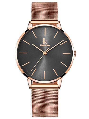 Alienwork Damen-Armbanduhr Quarz Rose-Gold mit Metall Mesh Armband Edelstahl grau Ultra-flach dünn