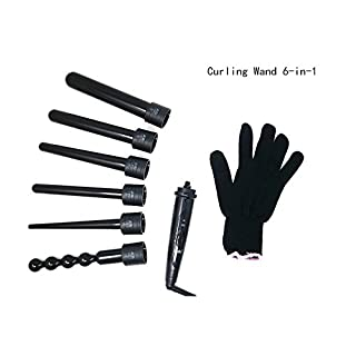 Hair Curling Wand Interchangeable Hair Curling Wand 6-in-1, Professional Multi-size Salon Hair Curling Iron Ceramic Tourmaline Hair Roller with Heat Resistant Glove