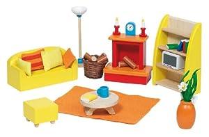 Goki 51904 - Sala de estar de 24 piezas para casita de muñecas
