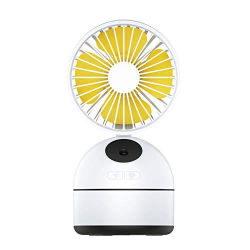 PQG Spray Fan, USB Desktop, Kleiner Lüfter, wiederaufladbar, Faltlüfter, Spray, Feuchtigkeitsspendend, Luftbefeuchter, Mini-Lüfter, DREI Modi können eingestellt Werden, Spray-Kühlung-White -