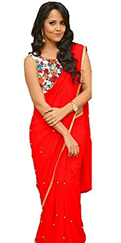 JHTEX FASHION INDIAN WOMENS DESIGNER GEORGETTE RED FANCY SAREE WHITH BLOUSE AND PARTY WEAR SAREE DIWALI SPECIAL SAREE
