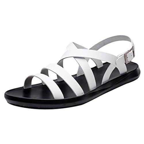 Yujeet pantofole per il tempo libero traspiranti e impermeabili leggere di modo per pattini dei sandali di cuoio uomini bianca asia 40