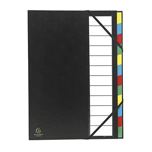 Exacompta 55340E Ordnungsmappe Harmonika (mit 12 Fächer, 3mm festem Deckel, robust, 225g Karton, 23,5 x 33 cm, geeignet für DIN A4) 1 Stück, farbig sortiert