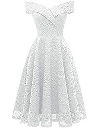 069ac7d5d9ca Z-SANMAO Femme Robe de Soirée Vintage de Soirée Cocktail Cérémonie années  1950s Style Audrey Hepburn 3 4 Manches Haut Taille en…