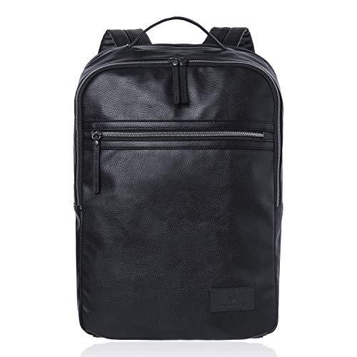VON HEESEN Laptop-Rucksack bis 15,4 Zoll I 2 Fächer I Business-Rucksack mit gepolstertem Notebook & iPad-Fach für Damen & Herren (Schwarz) (Damen Notebook-rucksack Leder)
