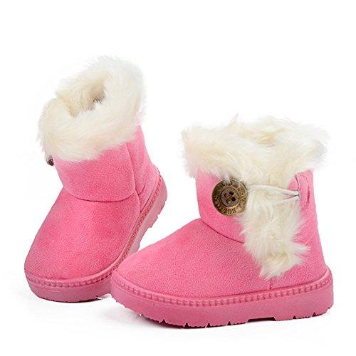 Best Choise Kinder mit Fell Plateauschuhe Winter Lederschuhe Mädchen Schneeschuhe Jungen Plüsch Warm Schnalle Kids Mid-Calf Boots Warm (Color : Pink, Size : 28 EU) (Spitzen-up-fell-stiefel)