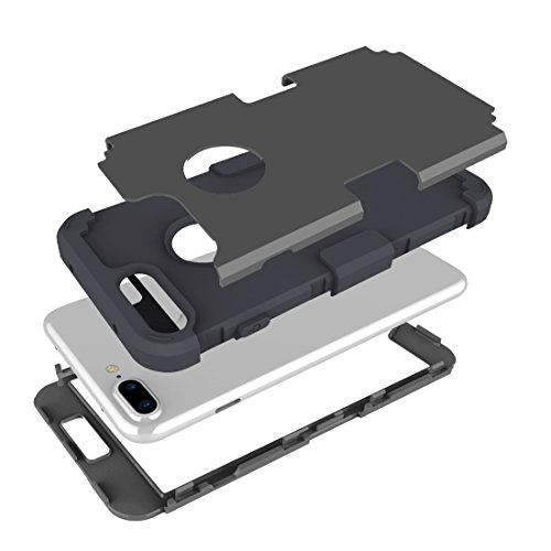 Hülle für iPhone 7 plus , Schutzhülle Für iPhone 7 Plus Trennbare Kontrastfarbe PC + Silikon Kombi-Gehäuse ,hülle für iPhone 7 plus , case for iphone 7 plus ( Color : Dark Blue ) Black