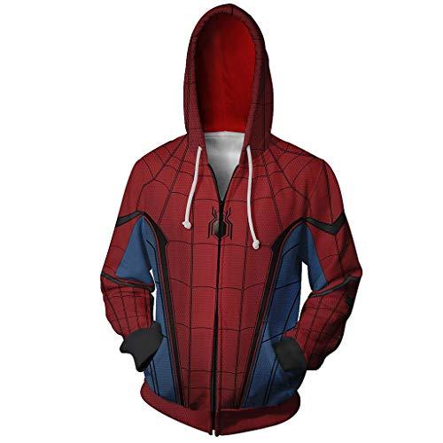 Spiderman Kostüm Top - Wangxyan 3D Digitaldruck Hoodie Spiderman Hooded Sweatshirts Super Hero Cosplay Kostüm Zip Front Sportswear Herren Casual Lose Tops,R,4XL