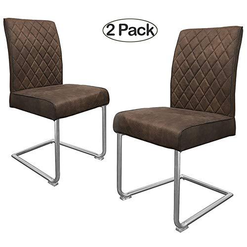 Ambiendi 2er Set Esszimmerstühle Stühle PU Leder Nickel-Metallgestell Vintage Freischwinger Schwingstuhl (Rotbraun)