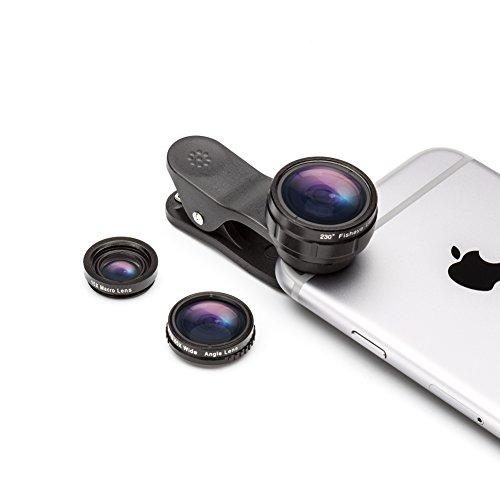 Clip On Objektiv Kamera Adapter, Fuleadture universal 3 in 1 Fisheye 230°15X Makro-Objektiv Fischauge 0.65X Weitwinkelobjektiv Fischaugenobjektiv Für iPhone 6/6s, Samsung und andere Handy (Halloween Objektiv)