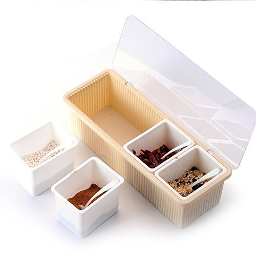 KB Store 4 Grid Pattern Seasoning Masala Salt Spice Rack Jar Box Container