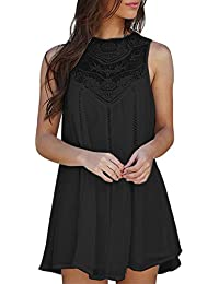 Yusealia Women Mini Shirt Dresses Solid Color Lace Floral Sleeveless Tank Dress Evening Cocktail Prom Party