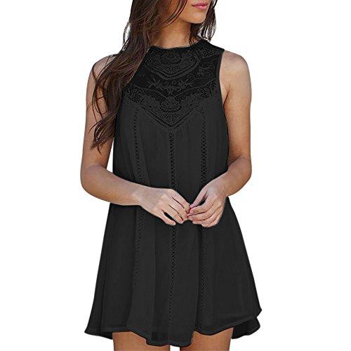 Women Casual Solid Lace Stitching O-Neck Sleeveless Chiffon Party Mini Dress Pleated Faux Wrap