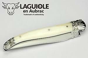 Laguiole en Aubrac Couteau L0212OSOF 12 cm Modèle Spécial, Manche en Os, Mitres Coquille Saint-Jacques brillant, Lame brillant