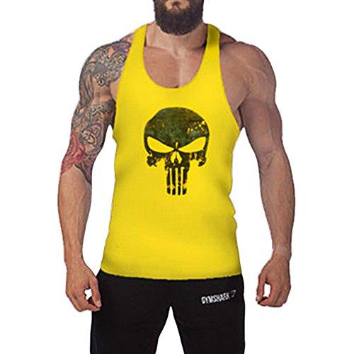 West See Herr Mann Tops Tank Tankshirt Vintage Skull Totenkopf T-Shirt Weste Muscleshirt Print (EU L, Hellgelb)