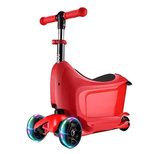 LYT Scooter Tre in Uno - Scooter con Barra a T Regolabile e Ruote LED Lampeggianti Adatto for Bambini di età Superiore a 3 Anni (Color : Red)