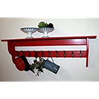 Hallway shelf with coat hooks, red, available in 8 sizes