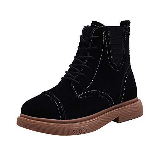 Bazhahei donna scarpa,classico lace-up stivali martin,invernali/autunno tacchi alti scarpe singole stivaletti a tubo centrale casual con tacco basso,scarpe moda da donna