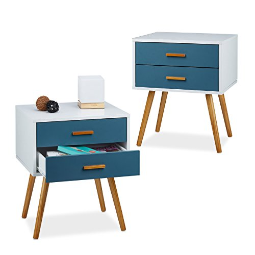 2x Nachttisch Skandinavisch, Nachttischschrank, 2 Schubladen, Nachtschrank, HBT: 58x41x48 cm, matt lackiert, türkis-weiß -