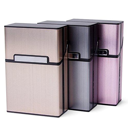 LUWANZ LUWANZ 3pcs Zigarettenbox Metall mit Magnetverschluss, Zigarettenetui aus Alu für Zigarettenschachtel, leichter edeler Zigarettenkasten für 20 Zigaretten (3er Pack, grau + rosagold + champagner Farbe)