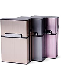 3pcs Zigarettenbox Metall mit Magnetverschluss, Zigarettenetui aus Alu für Zigarettenschachtel, Leichter edeler Zigarettenkasten für 20 Zigaretten (3er Pack, grau + rosagold + Champagner Farbe)